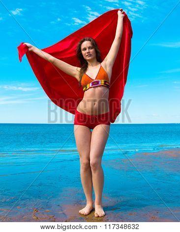 Posing  Fun Beach Girl