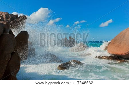 Sunlit Sea Foam Breaking Big Waves