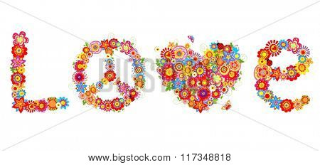 Hippie print with colorful flowers
