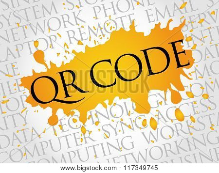 QR CODE, Technology concept word cloud collage, presentation background