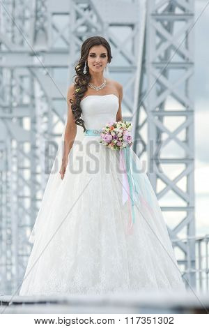 beautiful bride is standing