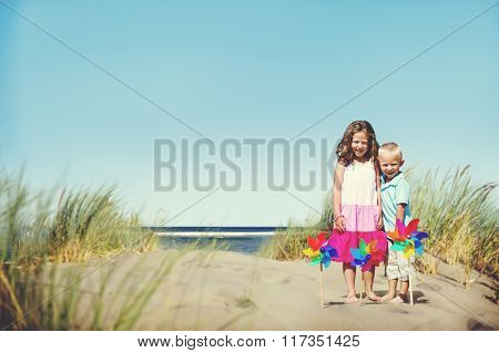 Brother Sister Beach Bonding Holiday Travel Concept