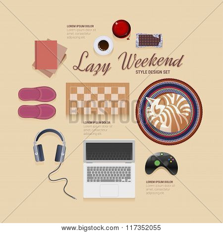Lazy weekend at home vector icons style design set