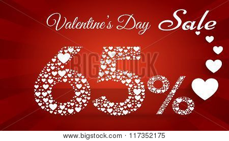Valentine`s Day Sale, 65  Percent Discount Made Of Little Hearts. Vector