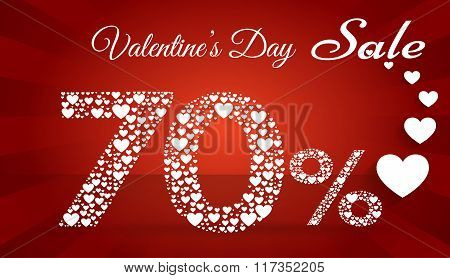 Valentine`s Day Sale, 70  Percent Discount Made Of Little Hearts. Vector