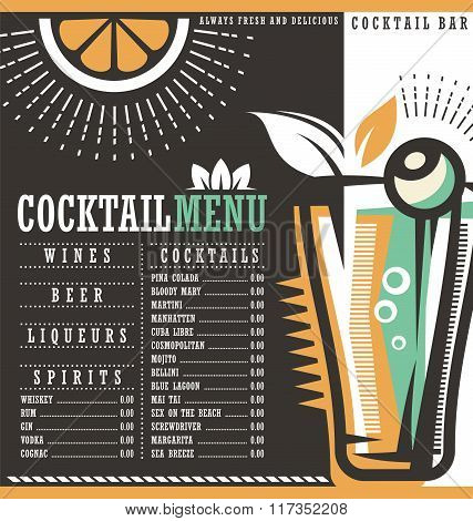 Menu design template for cocktail lounge