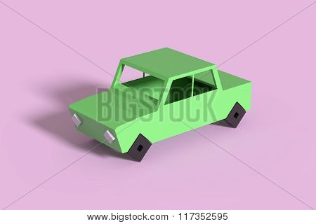 Green Car On Violet Background