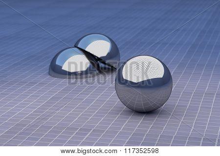Three-dimensional Metal Balls On Glazed Floor