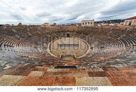Arena Di Verona. The Roman Amphitheatre Of Verona. Interior View