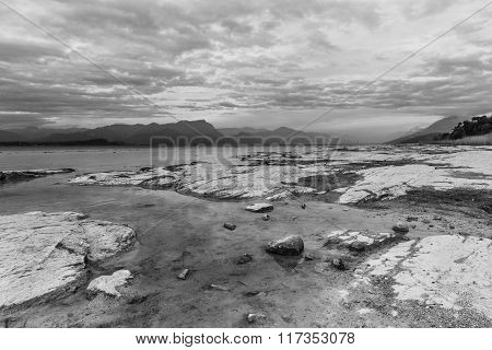 Scenic Lake Landscape At Sunset In Black And White. Long Exposure