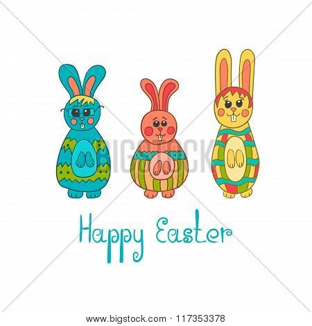 Greeting Card With Easter Bunny-3