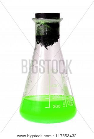 Laboratory Flask With Toxic Green Liquid