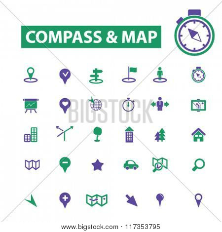 compass, map icons, signs set, vector
