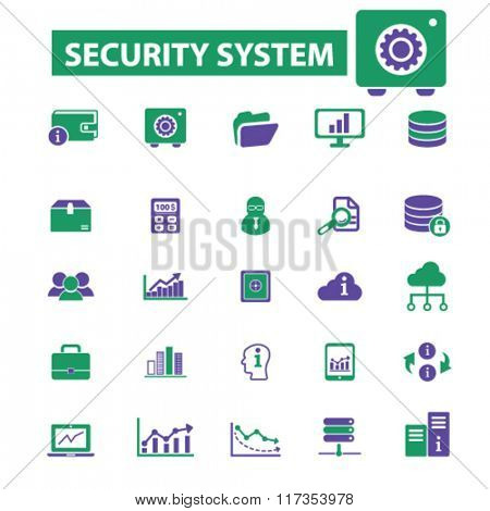 security, system administrator, computer network, connection, database, technology icons, signs vector concept set for infographics, mobile, website, application
