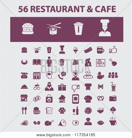 Restaurant, restaurant menu, restaurant dinner icons, signs vector concept set for infographics, mobile, website, application