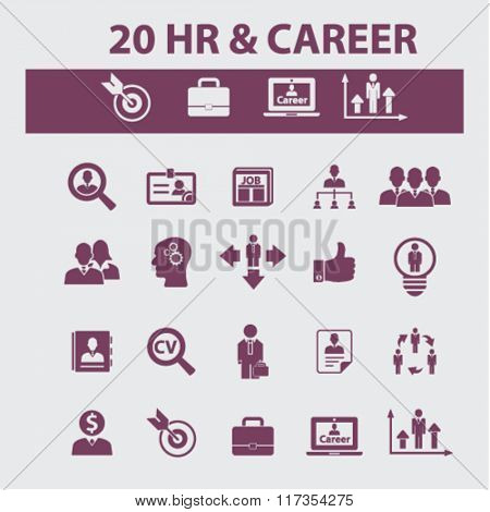 hr, career, job  icons, signs vector concept set for infographics, mobile, website, application