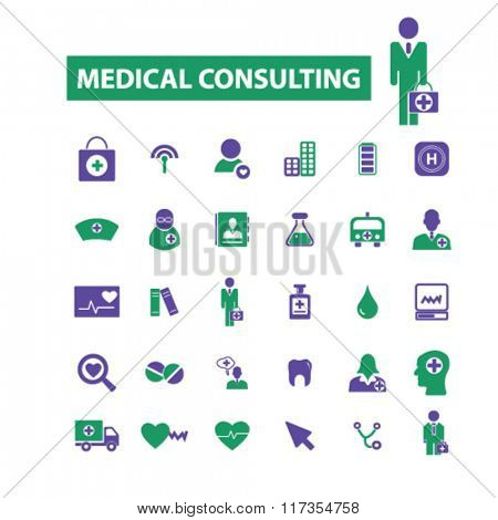 medical consulting, consultant, doctor, coach, therapist icons, signs