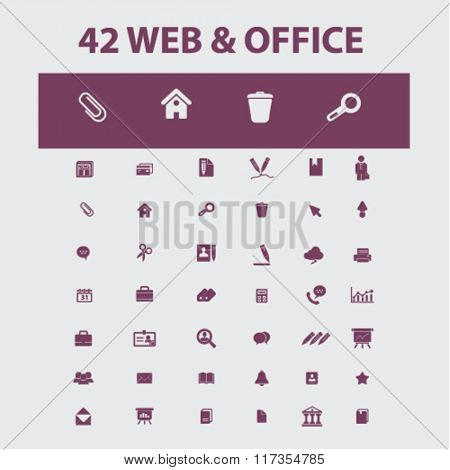 web office, supplies, freelance icons, signs vector concept set for infographics, mobile, website, application