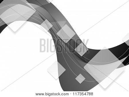 Tech geometric wavy grey background. Vector graphic brochure template