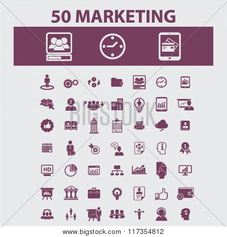 marketing, market icons, signs vector concept set for infographics, mobile, website, application