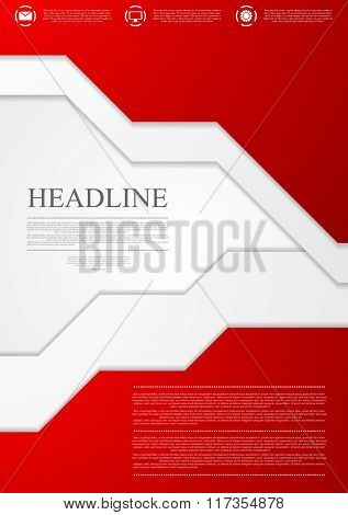 Corporate red material tech flyer design template. Vector brochure background