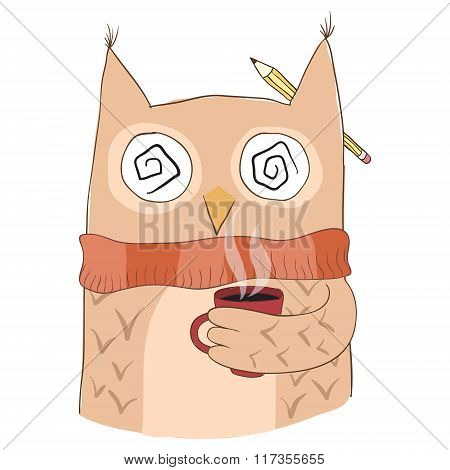 Cute owl with coffee cup.
