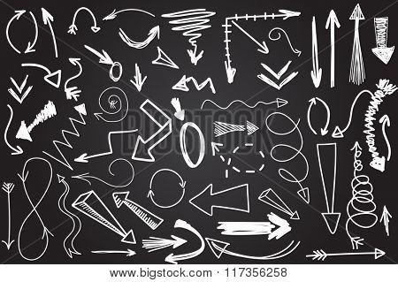 Hand drawn vector arrow collection