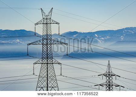 Power Towers Mountains Background