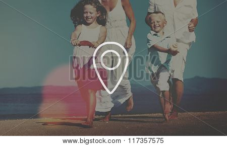 Family Running Playful Vacation Beach Travel Concept
