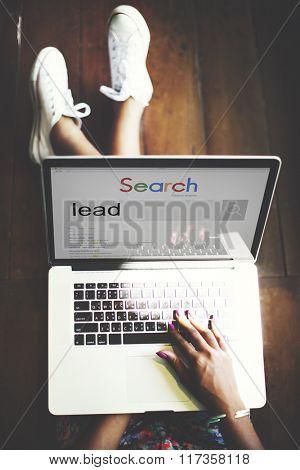 Woman Connection Laptop Internet Search Concept