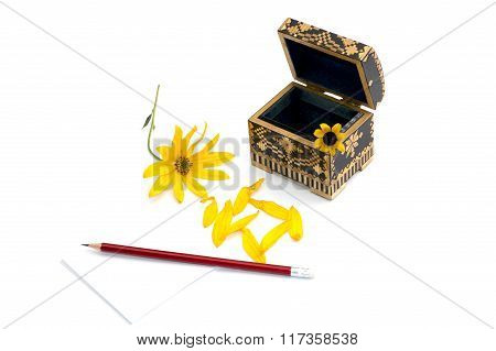 Still Life A Casket, A Pencil With Paper And A Yellow Flower
