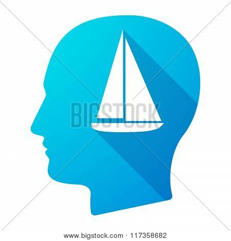 Male Head Icon With A Ship