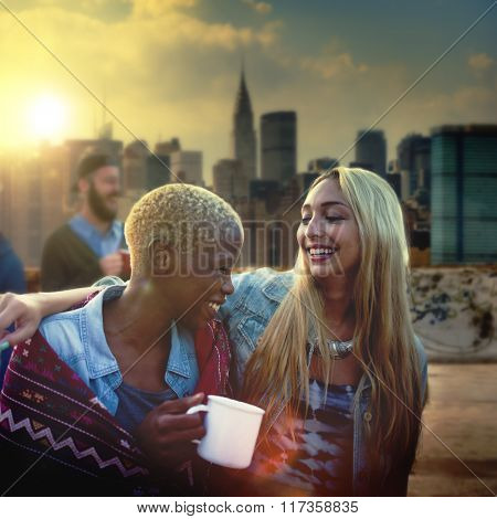 Friendship Party Rooftop Terrace Cheerful Concept