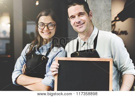 Cafe Barista Blackboard Waiter Cheerful Concept