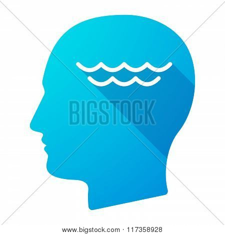 Male Head Icon With A Water Sign