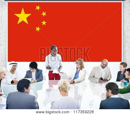 CHina National Flag Business Team Meeting Concept