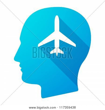 Male Head Icon With A Plane