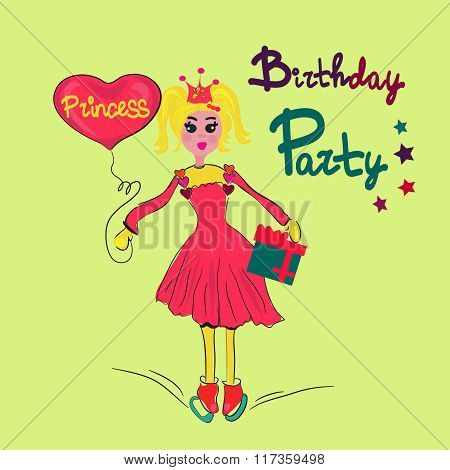 girl with heart and present in the skating rink. Birthday princess. Vector illustration