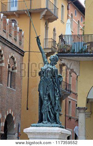 Verona, Italy - September 03, 2012: Statue On Piazza Delle Erbe In Verona, Italy