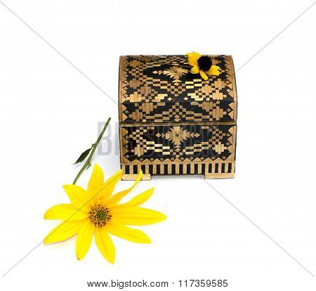 Still Life Beautiful Casket And Yellow Flower, Isolate