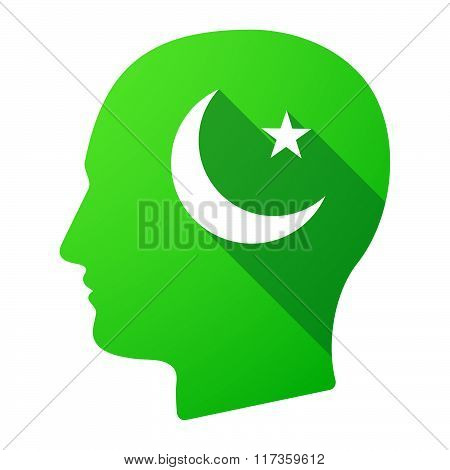 Male Head Icon With An Islam Sign