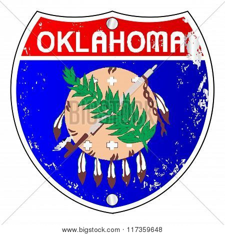 Oklahoma Flag Icons As Interstate Sign