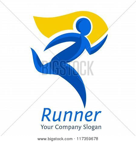 Abstract Runner Symbol. Company Logo Template. Movement Express Graphic Concept