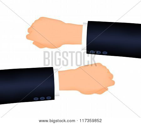 Mans hand right and left, suit sleeve