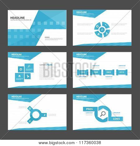 Abstract blue presentation templates Infographic elements flat design set