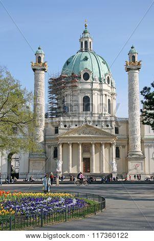Vienna, Austria - April 22, 2010: Saint Charles's Church (wiener Karlskirche) At Karlsplatz In Vienn