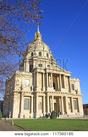Paris, France -18 December 2011: Dome Des Invalides Or Chapelle Royale Des Invalides, Paris, France