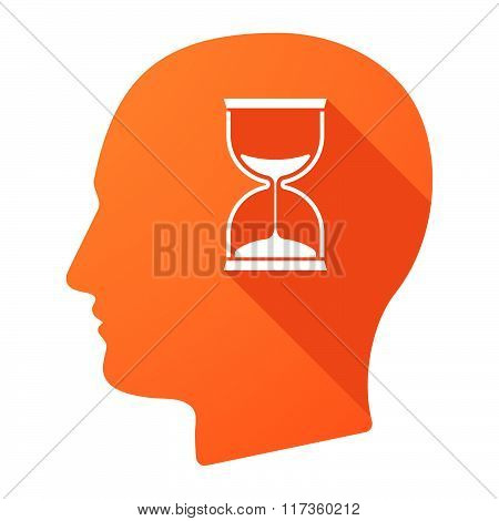 Male Head Icon With A Sand Clock