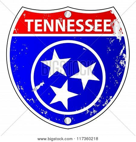 Tennessee Flag Icons As Interstate Sign