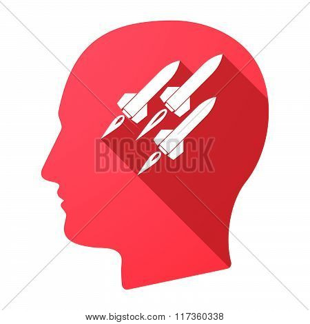 Male Head Icon With Missiles